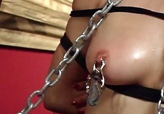 Asian busty brunette has a tied up sex session - 8 min