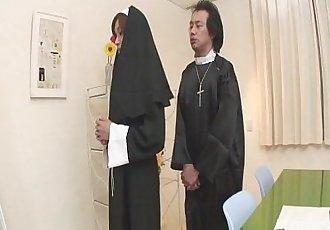 Naughty Nun spreads wide and sucks dick Hitomi Kanou - 8 min
