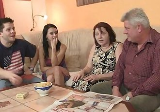 He finds his GF fucking his family - 6 min