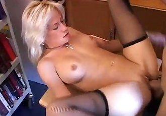 Sexy blonde MILF in stockings - 5 min