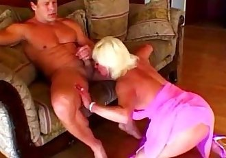 Sexy blonde granny blowing muscle dick - 5 min