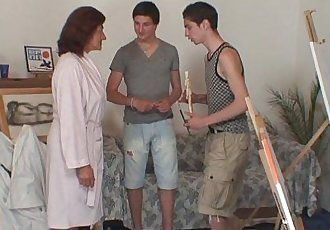 Old bitch gets banged by two young painters - 6 min HD
