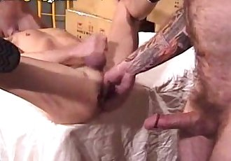Smooth Hunk Fucked Anally By Two Furry Men