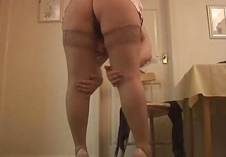 Big tits mature babe in stockings and satin slip strips and teases - 7 min