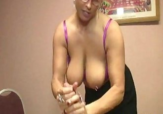 Busty mature tugging a younger mans cock - 5 min