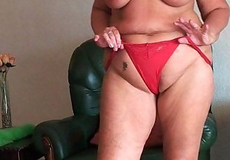 Chubby granny with saggy big tits and plump ass spreads pussy - 5 min HD