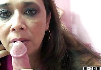 Curvy MILF Alesia Pleasure licks balls and sucks dick - 6 min HD