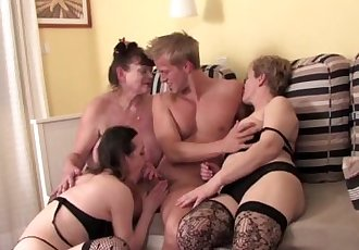 Young stud banging three hot matures