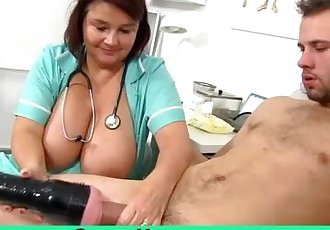 Big natural tits cougar Eva old with young handjob
