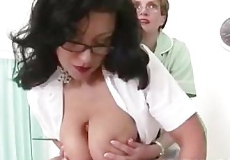 Mature big tits nurse give handjob