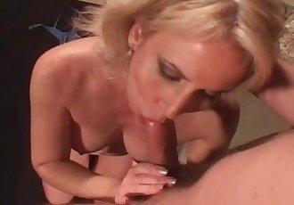 Fantastic blonde slut rides younger dude